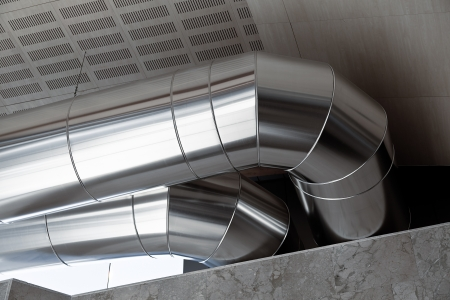 mechanical ventilation: Big Heating Ducts in a Industrial Building Interior