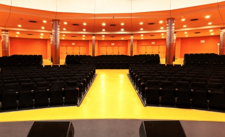 Modern Concert Hall with Black Seats