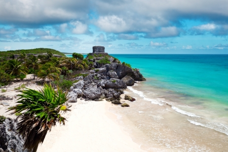 God of Winds Temple guarding Tulum's sea entrance bay in Quintana Roo, Mexico Stock Photo - 17443367