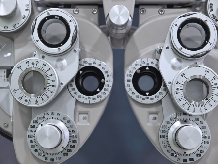 diopter: Optometrist diopter in a laboratory Stock Photo