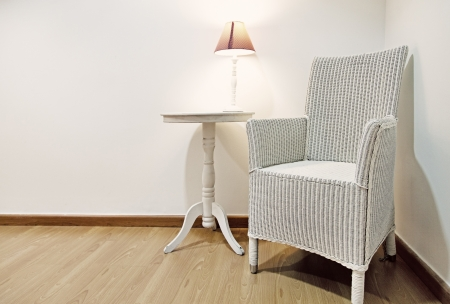 Vintage Wicker Chair in a Warm Interior photo