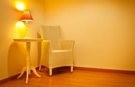 Wicker Chair in a Warm Interior photo