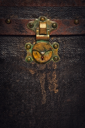 Closeup of a Rusty Old Chest Trunk photo