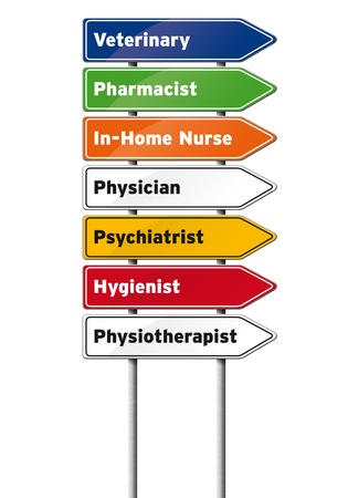 directional arrow: Medical Professions Signs Isolated on White