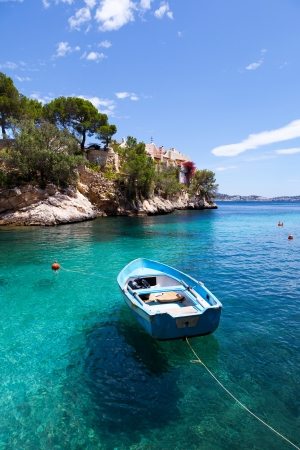 majorca: Old Rowboat Moored in Cala Fornells, Majorca, Spain Stock Photo