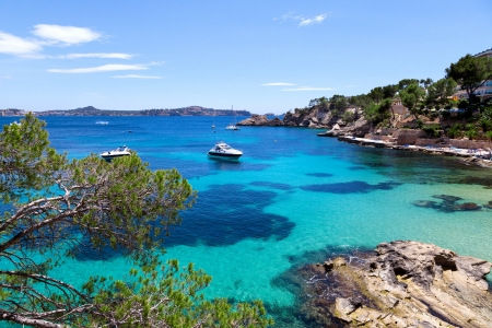 majorca: Moored Yachts in Cala Fornells, Majorca, Spain Stock Photo