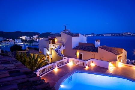 baleares: Night in Paguera Village, Mallorca, Spain