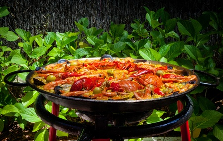 kitchen spanish: Cooking Traditional Spanish Paella Outdoors