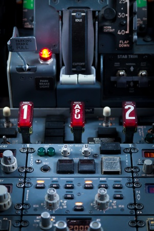 Close up vief of an Aircraft Dashboard Panel photo