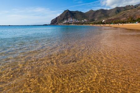 Golden Waters in Las Teresitas Beach, Tenerife, Spain
