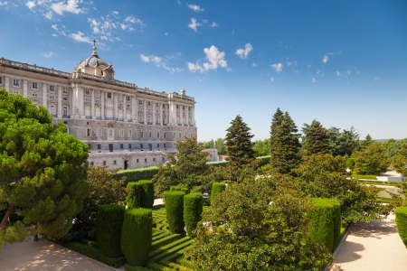 Facade of Madrid Royal Palace and Sabatini Gardens, Madrid, Spain