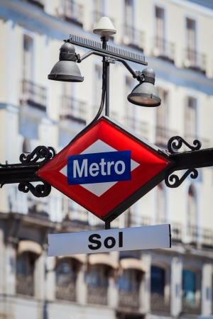metro: Metro Sign in Puerta del Sol Square, Madrid, Spain