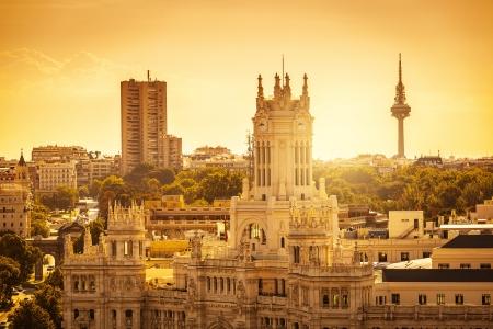 madrid  spain: Madrid Skyline with Palacio de Comunicaciones and Alcala Gate