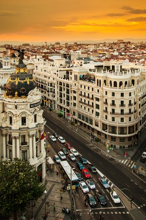 MADRID, SPAIN - AUGUST 15: View of Madrid with Metropolis Building and Gran Via Street inaugurated on January 21, 1911, on August 15, 2013 in Madrid, Spain