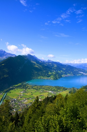 canton berne: Aerial view of Interlaken, Switzerland