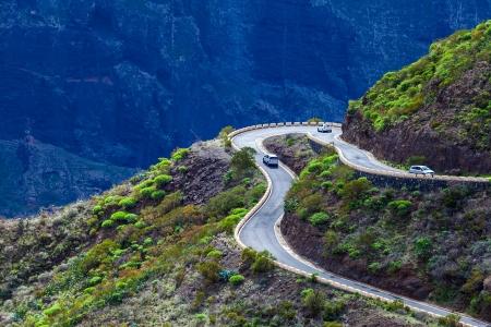 difficult journey: Dangerous Mountain Road in Tenerife, Spain Stock Photo