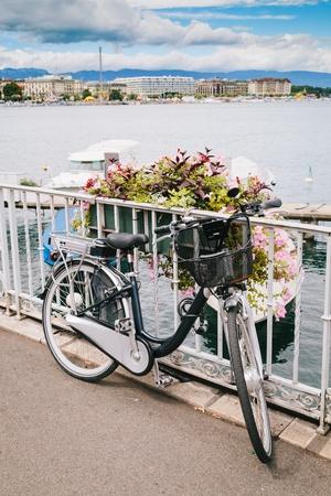 Traditional Bycicle in Geneva Lake, Switzerland Stock Photo - 21955310