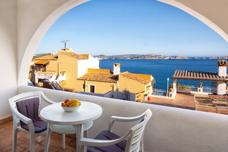 beaches of spain: Balcony with Sea Views from a Rural Apartment in Mallorca, Spain Editorial