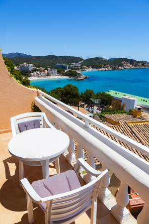hotel balcony: Balcony with Sea Views from a Rural Apartment in Mallorca, Spain Stock Photo