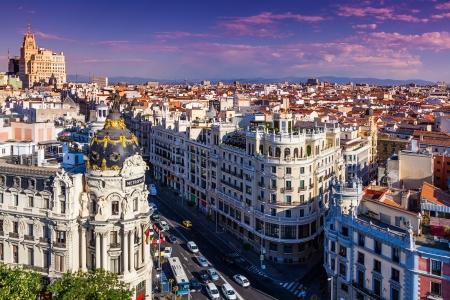 famous places: Gran Via Street, Madrid, Spain Stock Photo