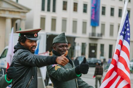 BERLIN, GERMANY - NOVEMBER 11: American and Soviet military claiming their rights in the Brandenburg gate on November 11, 2013 in Berlin, Germany