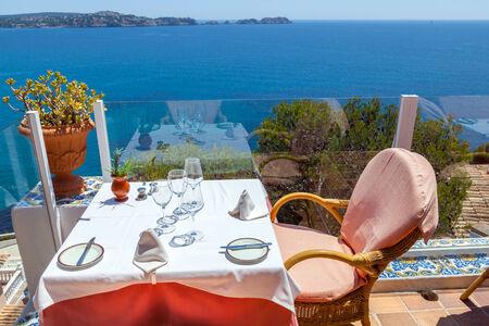 seaview: Restaurant with Sea Views in Majorca, Spain Stock Photo