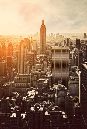 Zonsondergang in Manhattan, New York, USA