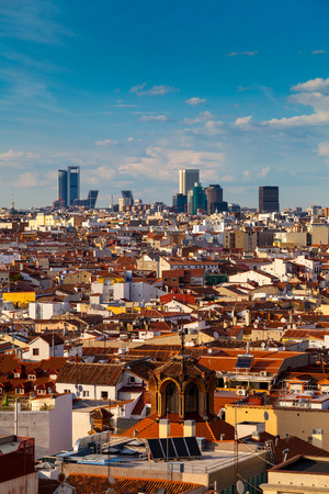 torre: Madrid Skyline, Spain, with the business area in the distance Stock Photo