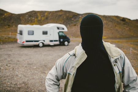 The Man with No Face Besides a Camper photo