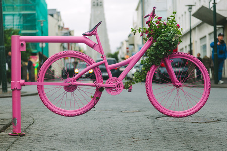 Pink Bicycle Gate in Reykjavik Streets, Iceland Stock Photo