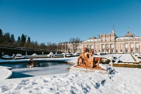 garden fountain: Winter View of La Granja de San Ildefonso, Segovia, Spain