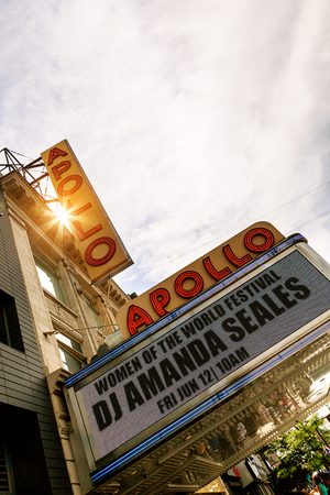 exclusively: NEW YORK CITY - JUNE 14: Marquee for Apollo Theater in Harlem, NYC on June 14, 2015. This historic music hall is one of the oldest in the city and known exclusively with African-American performers