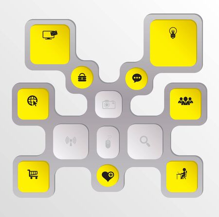 silver boder: Rectangle with icons diagram Illustration