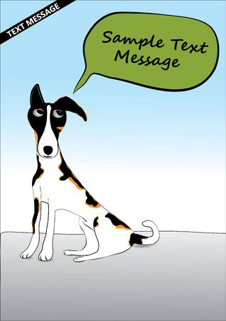 silver boder: Dog with speech text Illustration