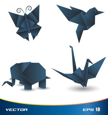 silver boder: Animal Origami set Illustration