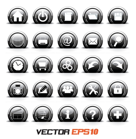 silver boder: Icons set black and white color