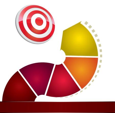 silver boder: 3D arrow circle to target Illustration
