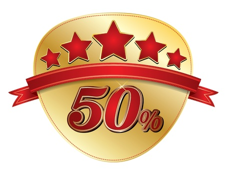 Tag vente d'or 50 avec étoile Banque d'images - 19707265
