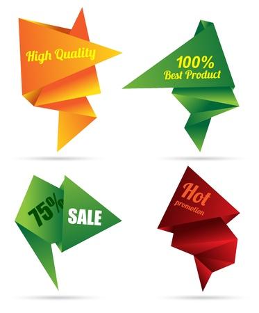 silver boder: origami tag modern color for promotion banner Illustration