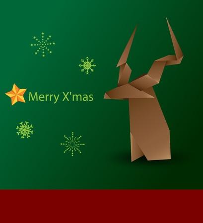 silver boder: Merry X mas raindear  Illustration