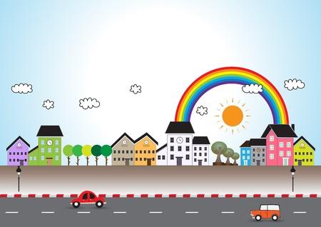 silver boder: Mini town cartoon