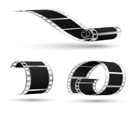 Movie film 3d vector set Vector