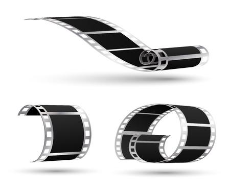 silver boder: Movie film 3d vector set Illustration