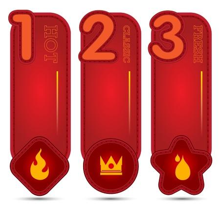 silver boder: red tag banner with number 123 Illustration