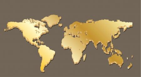 Carte du monde d'or Banque d'images - 19707095