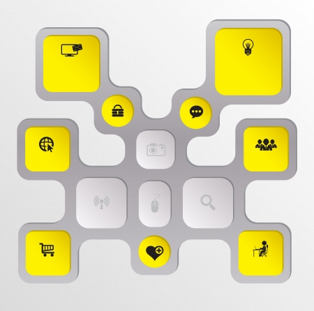 Modèle de rectangle avec des icônes d'affaires Banque d'images - 19745473