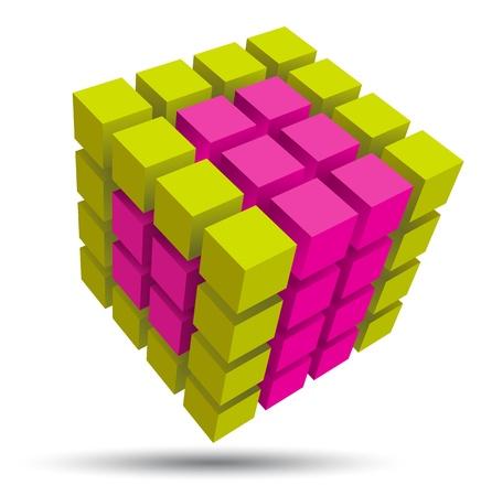 silver boder: Cube 3d