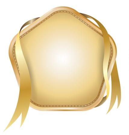 Bannière broderie avec ruban d'or Banque d'images - 20312700