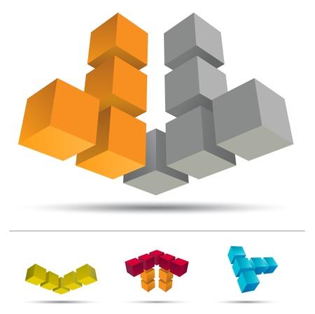 silver boder: 3D cube set