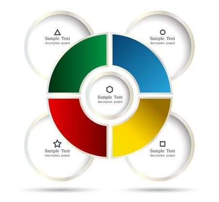 silver boder: Diagram circle for business concept or plan